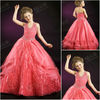 F2414 New halter design fabulous beaded puffy ball gown skirt kids christmas party wear dresses for girls