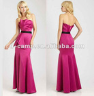BD-095 Fancy strapless junior bridesmaid dress contrast waistband