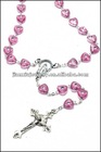 Pink glass bead rosary necklace with cross charm