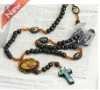 Wooden beads Jesus necklace jewelry