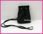 black nylon mobile phone bag with strap