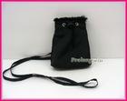 black nylon mobile phone bag with strap