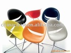 Modern chromed metal 1.6mm tube and plastic seat back dining room side chair