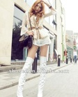 Stylish Leopard Revers Patent Leather High-heeled Knee Boots White CD12092610-1