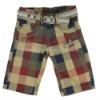 Free Belt Boys Check Cargo Shorts