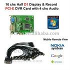 16 chs Video, 4 chs Audio, PCI-E Half D1 DVR Card