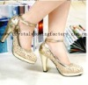 2012 sequined gold beaded high heel bridal shoes CWFas4166
