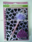 purple spiral notebook sets with feather ballpen in heart design