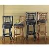 antique solid wood swivel back bar stool
