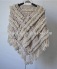 Women's fashion knitted rex rabbit fur shawl made of 100% real rex rabbit fur