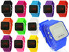 Men Lady Silicone Gel Sport Mirror Face LED Digital Day Date Watch Gift