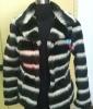 2012 fashion stripe fake&faux fur coats