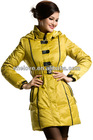 Women's Zip Stand Collar Belted Slim fit Detachable Hood Long Thickening Down Jacket