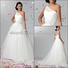 Free Shipping QNWD1129-05 One-Shoulder Layer Thin Net With Sash Wedding Dresses