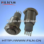 16mm stainless steel high flat ring LED automotive push button switches