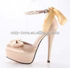 BS600 champagne platform bow satin bridal wedding shoes