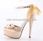 BS600 champagne platform bow satin bridal wedding shoes