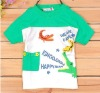 Shuge Lovely Kids Splicing Colorful Printing Pocket T-shirt Green TZ12041103-2