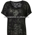 OEM 100% cotton spay material women black blank design o-neck short sleeve transparent burnout t-shirt tee clothes