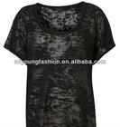 OEM 100% cotton spay material women black blank design o-neck short sleeve transparent burnout t-shirt tee clothes