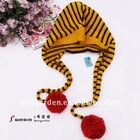 Pompoms Decoration Fashion Stripe Knitted Winter Hat