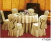 100% polyester jacquard ivory and beige banquet chair cover with bow