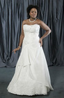 NB626 Strapless Taffeta Beaded A-line plus Size Wedding Dresses