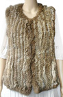 Ladies' natural brown genuine rabbit knitted fur vest YR-014