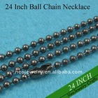 24 Inch 2.4mm Gunmetal Black Brass Ball Chain Necklaces
