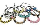 Resin Shamballa Bracelet, fashion handmade shamballa bracelet, nylon cord with resin rhinestone beads & hematite beads