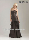 2012 newest dark brown taffeta floor length fancy bridesmaid dresses