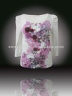 2012 Hot Sell Special Embroidered and Print Design Round Neck Long Sleeve T-shirt