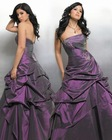Purple sleeveless ball grown prom dress part dress