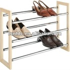 Wood and Chrome Stackable Metal Shoe Rack