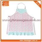 Blue trim box pleat floral cute girls cotton cooking apron