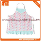 Blue trim box pleat floral cute girls cotton cooking apron