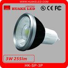 Excellent heat dissipation AL+PC 3W COB GU10 LED Spotlight
