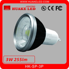 Excellent heat dissipation AL+PC 3W COB GU10 LED Spotlight