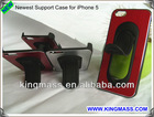 HOT! Newest TPU Steel Support Stand Case for iPhone 5 Cable wrapper Hand Free