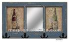 Vintage Shabby Wood Mirror With Three Hooks