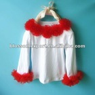 Christmas design baby shirts with rosette