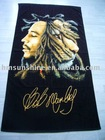 100% cotton reactive printed velvet beach towel