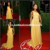 RED028 Elegant One Shoulder Shiny Beaded Sequins Long Chiffon Yellow Evening Celebrity Dress