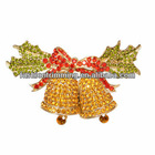 Yellow bell style rhinestone brooches