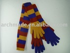 Fancy knit scarf with many gloves