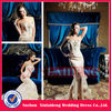 PMD221 gorgeous champagne sweetheart lace handmade flower mermaid wedding prom dress