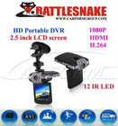 Car DVR driver recorder 12 IR LED HD camera,270 degree rotation 2.5inch TFT LCD screen