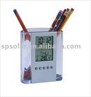 SK306D desk transparent plastic digital calendar alarm clock with pen holder
