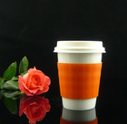 8 OZ Ceramic double wall cup with silicone sleeve and lid