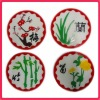 Silicone Coasters and Glass Charms-set of 4 flowers